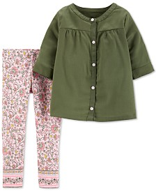 Carter's Toddler Girls 2-Pc. Sateen Top & Printed Leggings Set