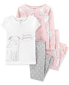 Baby Girls 4-Pc. Cotton Fur-Ever Dreaming Dog Pajama Set