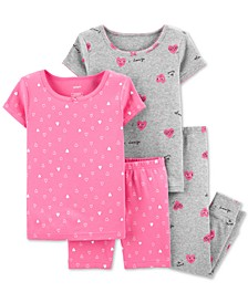 Toddler Girls 4-Pc. Cotton Hearts Pajama Set