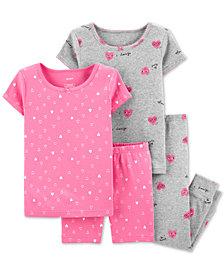Carter's Toddler Girls 4-Pc. Cotton Hearts Pajama Set