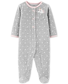 Baby Girls Dot-Print Unicorn Fleece Footed Coverall