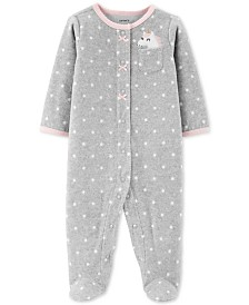 Carter's Baby Girls Dot-Print Unicorn Fleece Footed Coverall