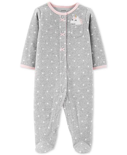 Carter's Baby Girls Dot-Print Unicorn Fleece Footed Coverall