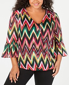 I.N.C. Plus Size Chevron-Striped Surplice Top, Created for Macy's