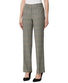Tahari ASL Plaid Straight-Leg Pants