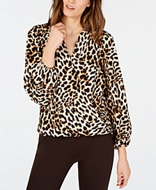 INC Leopard-Print Surplice Top, Created for Macy's