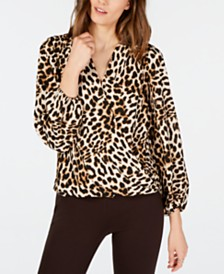 I.N.C. Leopard-Print Surplice Top, Created for Macy's