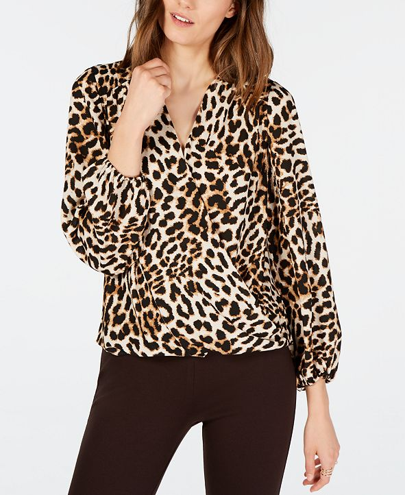 INC International Concepts INC Leopard-Print Surplice Top, Created for Macy's