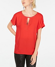 INC Keyhole Stud Knit Top, Created for Macy's