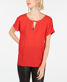 I.N.C. Keyhole Stud Knit Top, Created for Macy's