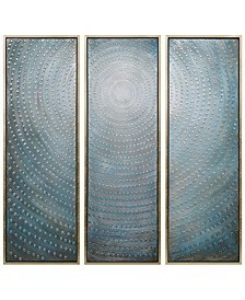 """Concentric 3-Piece Textured Metallic Hand Painted Wall Art Set by Martin Edwards, 60"""" x 20"""" x 1.5"""""""