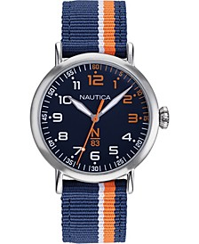N83 Men's NAPWLS912 Wakeland Blue/Orange Stripe Fabric Strap Watch
