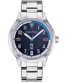 N83 Men's NAPCFS907 Crissy Field Silver/Blue Stainless Steel Bracelet Watch