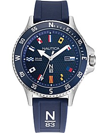 N83 Men's NAPCBS904 Cocoa Beach Solar Blue/Silver Silicone Strap Watch