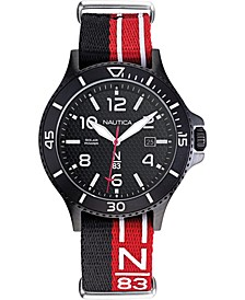 N83 Men's NAPCBS901 Cocoa Beach Solar Black/Red Fabric Slip-Thru Strap Watch