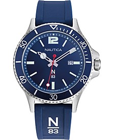 N83 Men's NAPABS907 Accra Beach Blue/Silver Silicone Strap Watch