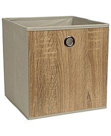Faux Wood Storage Cube