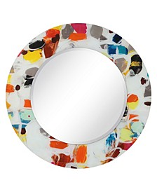 "Round Beveled Reverse Printed Tempered Art Glass Mirror Wall Decor - 48"" x 48''"