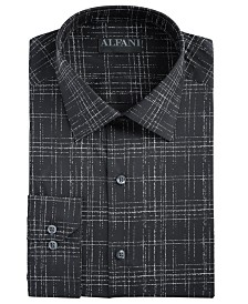 AlfaTech by Alfani Men's Slim-Fit Performance Stretch Modern Slub Print Dress Shirt, Created for Macy's