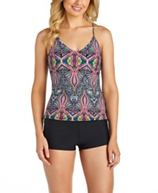 Raisins Juniors' Beach Life Printed Macrame-Back Tankini Top & Samba Solids Surf Short Bottoms
