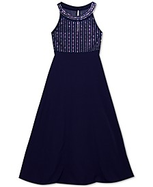 Big Girls Embellished Illusion Maxi Dress