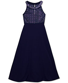 Rare Editions Big Girls Embellished Illusion Maxi Dress