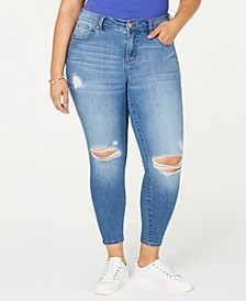 Trendy Plus Size Ripped Skinny Ankle Jeans