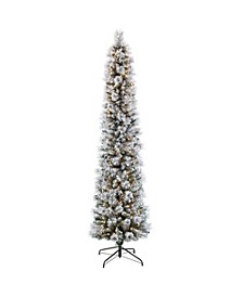 International 9 ft. Pre-Lit Flocked Patagonia Pine Pencil Artificial Christmas Tree with 450 UL- Listed Clear Lights