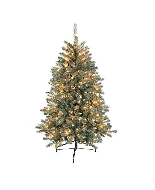 Puleo International 4.5 ft. Pre-Lit Blue Mountain Fir Artificial Christmas Tree with 250 UUL-Listed Clear Lights