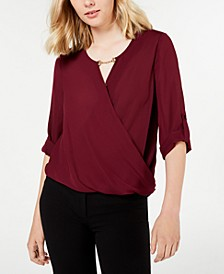 Juniors' Keyhole-Cutout Wrap Top