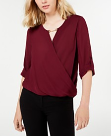 BCX Juniors' Keyhole-Cutout Wrap Top