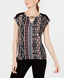 Juniors' Mixed-Print Keyhole Top