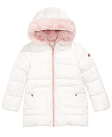 Big Girls Hooded Faux-Fur-Lined Puffer Coat