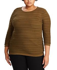 Plus Size 3/4-Sleeve Pointelle-Knit Sweater