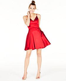 Sequin Hearts Juniors' V-Neck Fit & Flare Dress