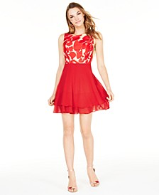 Juniors' V-Back Floral & Solid Dress