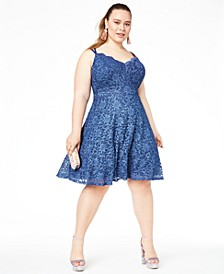 Trendy Plus Size Metallic Lace Fit & Flare Dress