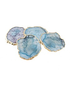 Teal Agate Coasters, Set of 4