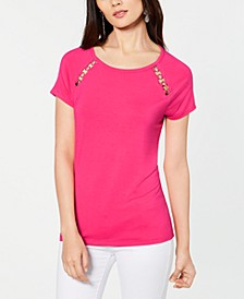 INC Grommet-Trim T-Shirt, Created for Macy's