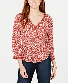 Juniors' Printed Surplice-Neck Top, Created for Macy's