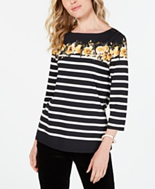 Charter Club Petite Striped Floral-Print Top, Created for Macy's