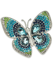 Charter Club Silver-Tone Crystal Butterfly Pin, Created for Macy's