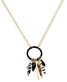 "I.N.C. Gold-Tone Multi-Animal Print Charm Shaky Pendant Necklace, 32"" + 3"" extender, Created for Macy's"