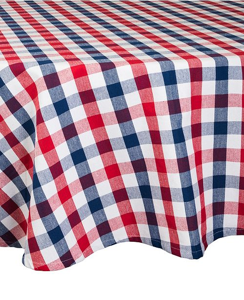 "Design Imports Check Tablecloth 70"" Round"