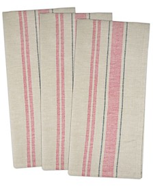 Chambray French Stripe Woven Dishtowel, Set of 3