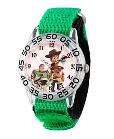 EwatchFactory Boy's Disney Toy Story 4 Woody, Buzz Lighter, Bo Peep Green Plastic Time Teacher Strap Watch 32mm