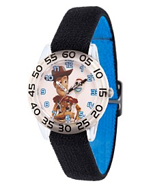EwatchFactory Boy's Disney Toy Story 4 Woody Forky Black Plastic Time Teacher Strap Watch 32mm