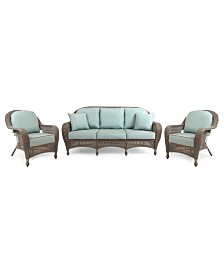 Sandy Cove Outdoor Wicker 3-Pc. Seating Set (1 Sofa and 2 Club Chairs), Created for Macy's