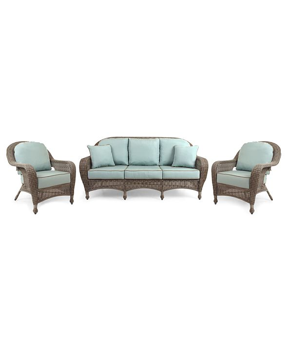 Furniture Sandy Cove Outdoor Wicker 3-Pc. Seating Set (1 Sofa and 2 Club Chairs), with Sunbrella® Cushions, Created for Macy's