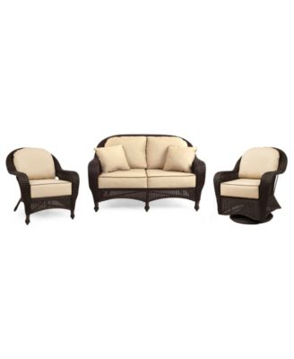 Monterey Outdoor Wicker 3-Pc. Seating Set with Sunbrella® Cushions  (1 Loveseat, 1 Club Chair and 1 Swivel Glider), Created for Macy's